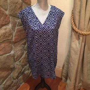 H&M blue geo tunic/blouse